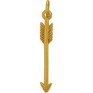 Satin 24K Gold Plated Arrow Charm 27x4mm
