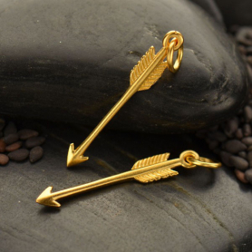Satin 24K Gold Plated Arrow Charm 27x4mm
