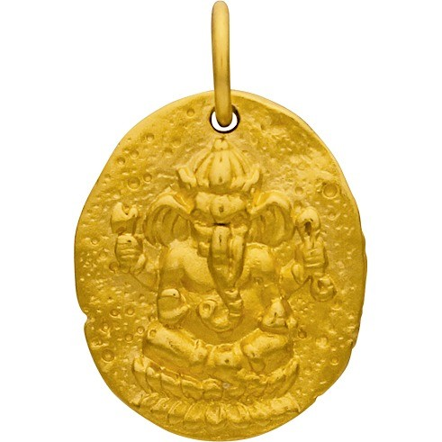 Gold Charm - Ancient Ganesh Coin with 24K Gold Plate 21x13mm