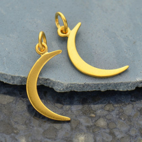 Gold Charm - Moon with 24K Gold Plate 22x8mm