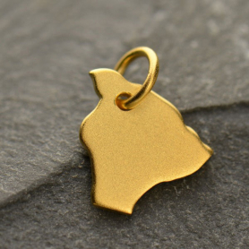 Gold Charm - Hawaii with 24K Gold Plate 13x10mm