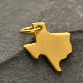 Gold Charm - Texas with 24K Gold Plate 14x10mm