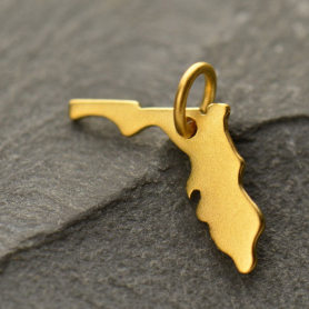 Gold Charm - Florida with 24K Gold Plate DISCONTINUED