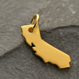Gold Charm - California with 24K Gold Plate 17x11mm