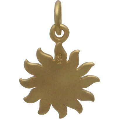Gold Charms - Sun with 24K Gold Plate 18x12mm