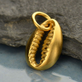 Gold Charm - Cowrie Shell in 24K Gold Plate 15x8mm