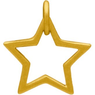 Gold Charm - Openwork Star with 24K Gold Plate 13x12mm