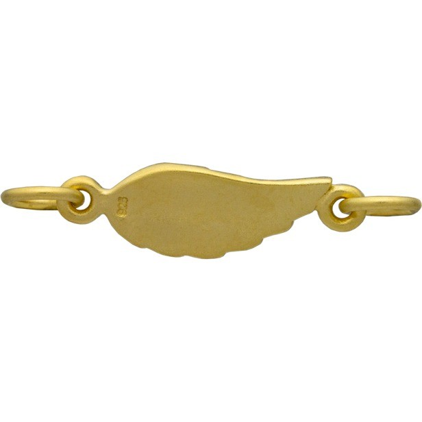 Gold Charm Links - Angel Wing with 24K Gold Plate 6x18mm
