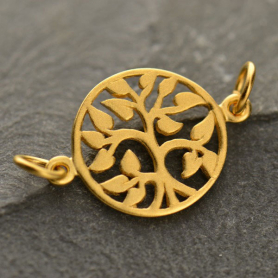 Gold Charm Links - Tree of Life with 24K Gold Plate 14x19mm