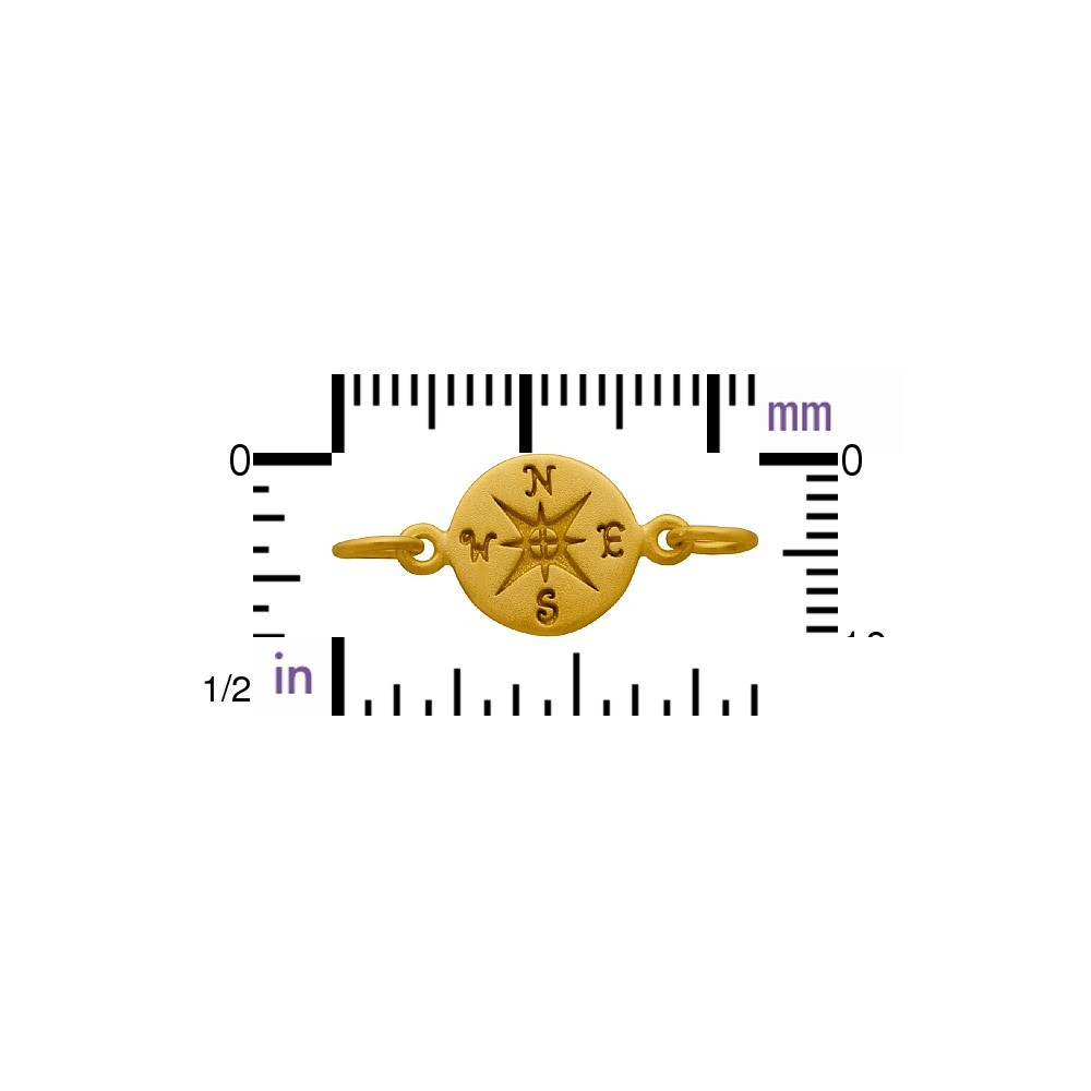 Gold Charm Links - Compass with 24K Gold Plate