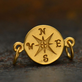 Gold Charm Links - Compass with 24K Gold Plate 10x16mm