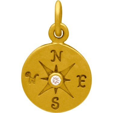 Gold Charm - Compass with Diamond in 24K Gold Plate 16x10mm