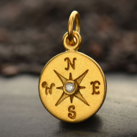 Gold Charm - Compass with Diamond in 24K Gold Plate