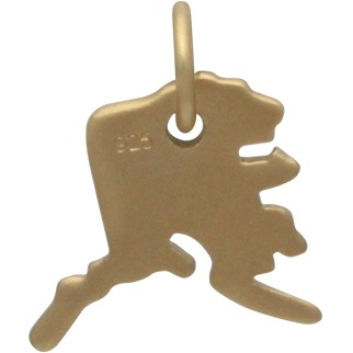 Gold Charms - Alaska State with 24K Gold Plate 14x11mm