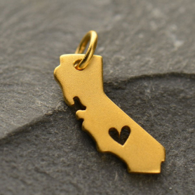 Gold Charm - California with Heart in 24K Gold Plate 17x11mm