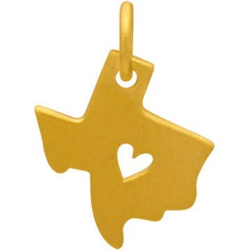 Gold Charm - Texas with Heart in 24K Gold Plate 15x11mm