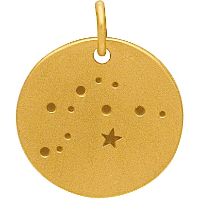 Gold Charms - Aquarius Constellation with 24K Gold Plate