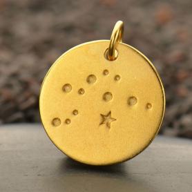 Satin 24K Gold Plated Aquarius Constellation Charm 18x15mm