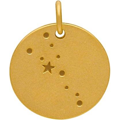 Satin 24K Gold Plated Taurus Constellation Charm 18x15mm