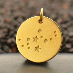 Satin 24K Gold Plated Virgo Constellation Charm 18x15mm