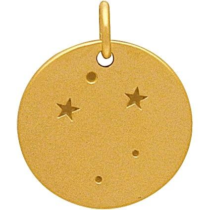 Satin 24K Gold Plated Libra Constellation Charm 18x15mm