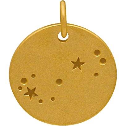 Satin 24K Gold Plated Scorpio Constellation Charm 18x15mm