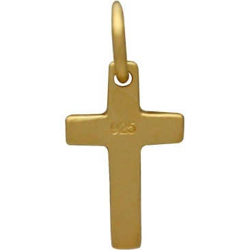 Gold Charm - Cross with 24K Gold Plate