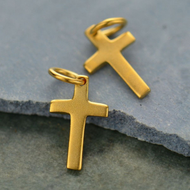 Satin 24K Gold Plated Cross Charm 15x7mm