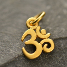 Gold Charm - Tiny Om with 24K Gold Plate 13x7mm