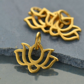 Gold Charm - Tiny Wide Lotus with 24K Gold Plate 12x12mm