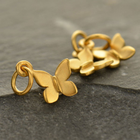 Gold Charm - Tiny Butterfly with 24K Gold Plate 12x10mm