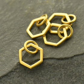 24K Gold Plated Single Honeycomb Charm 12x8mm