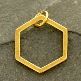 24K Gold Plated Single Honeycomb Charm 19x14mm