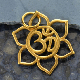 Gold Charm -Openwork Lotus with Om in 24K Gold Plate 24x17mm