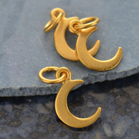 Gold Charm - Tiny Crescent Moon with 24K Gold Plate 14x7mm
