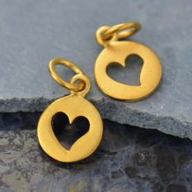 Gold Charm - Round Disc with Heart Cutout in 24K Gold Plate
