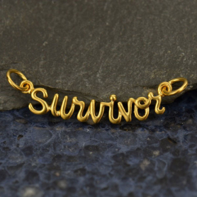 Cursive Survivor Link in 24K Gold Plate DISCONTINUED