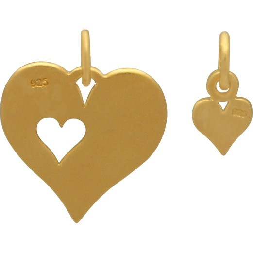 24K Gold Plated Heart and Heart Cutout Charm Set