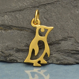 Gold Charm - Baby Penguin with 24K Gold Plate 18x7mm