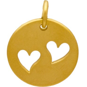 Gold Charm -Disc with 2 Hearts in 24K Gold Plate 16x12mm