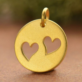 Gold Charm - Round Disc with 2 Hearts in 24K Gold Plate