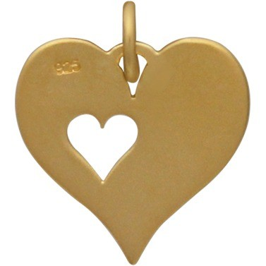 24K Gold Plated Heart Charm with One Heart Cutout 17x13mm