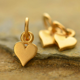Gold Charm - Tiny Heart with 24K Gold Plate