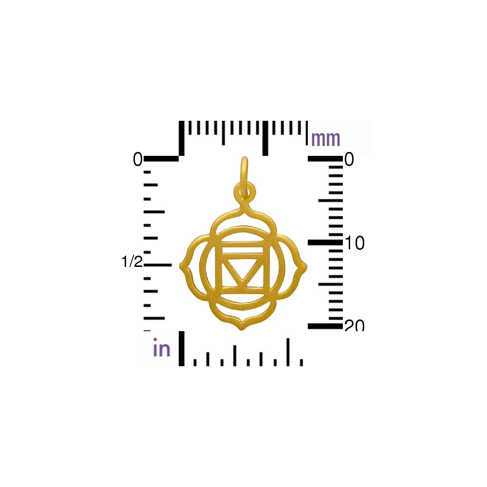 Gold Charm - Root Chakra with 24K Gold Plate