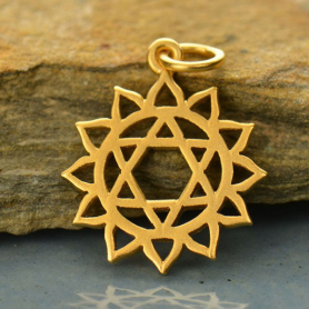 Gold Charm - Heart Chakra with 24K Gold Plate 22x15mm