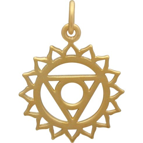 Gold Charm - Throat Chakra with 24K Gold Plate 22x16mm