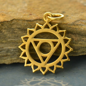 Gold Charm - Throat Chakra with 24K Gold Plate
