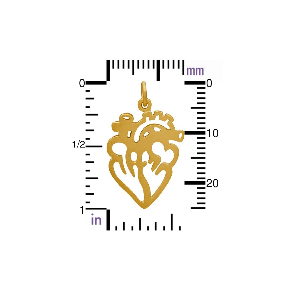 Flat Anatomical Heart Charm with 24K Gold Plate DISCONTINUED