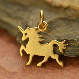 Gold Charm - Flat Unicorn with 24K Gold Plate 15x14mm