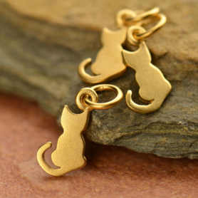 Gold Charm - Tiny Cat with 24K Gold Plate 15x6mm